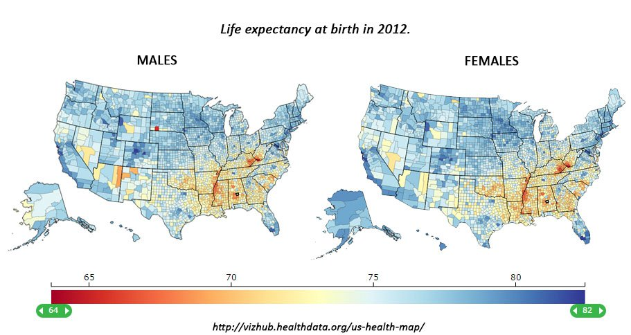 The Southernization Of America Average Life Expectancies For Men And Women 2012