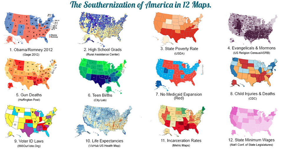 The southernization of America in 12 maps.