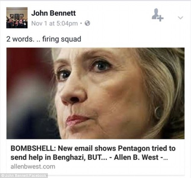 John Bennett tweet - firing squad - hillary clinton.