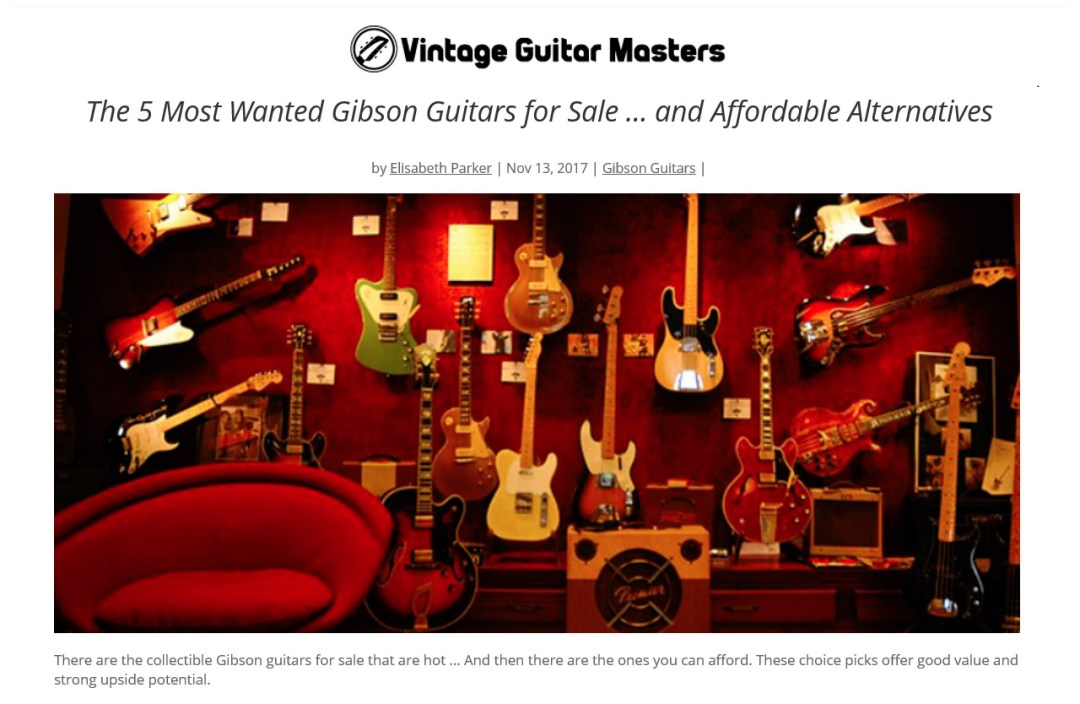 "Photo of vintage guitars for sale in a store window. ""Gibson Guitars for Sale"" - Vintage Guitar Masters - Portfolio > Content Writing > Your Caring Dentist > Content writing and editing sample by Elisabeth Parker."