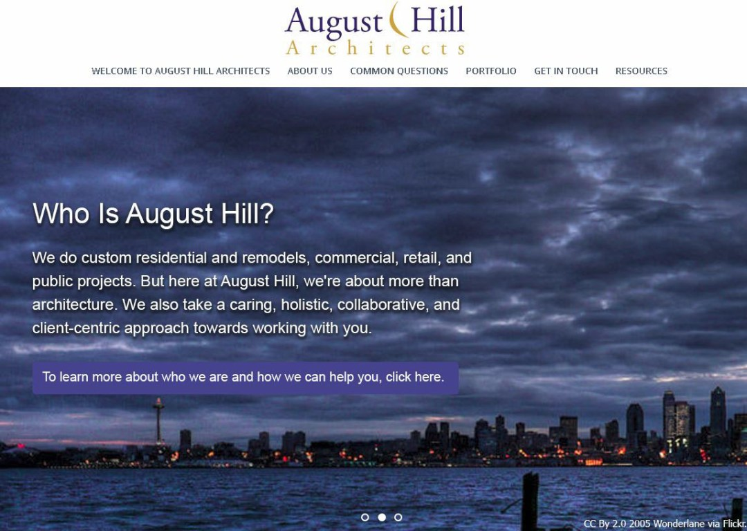 August Hill Architects - Second Slider on home page - Elisabeth Parker's portfolio.