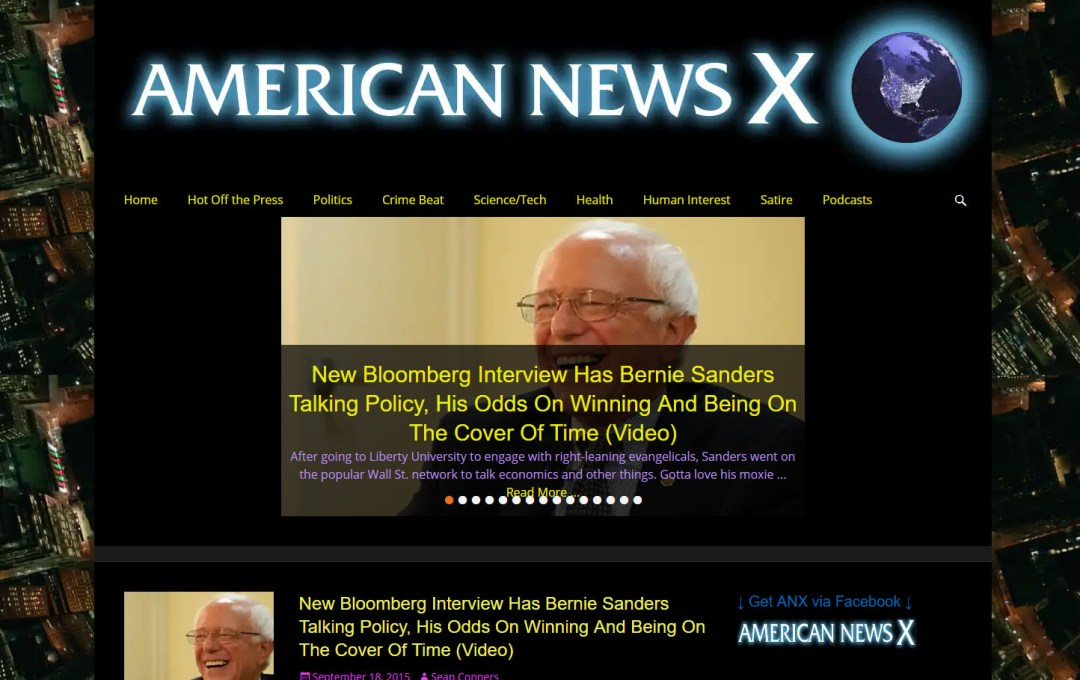 American News X - site redesign - before screenshot.