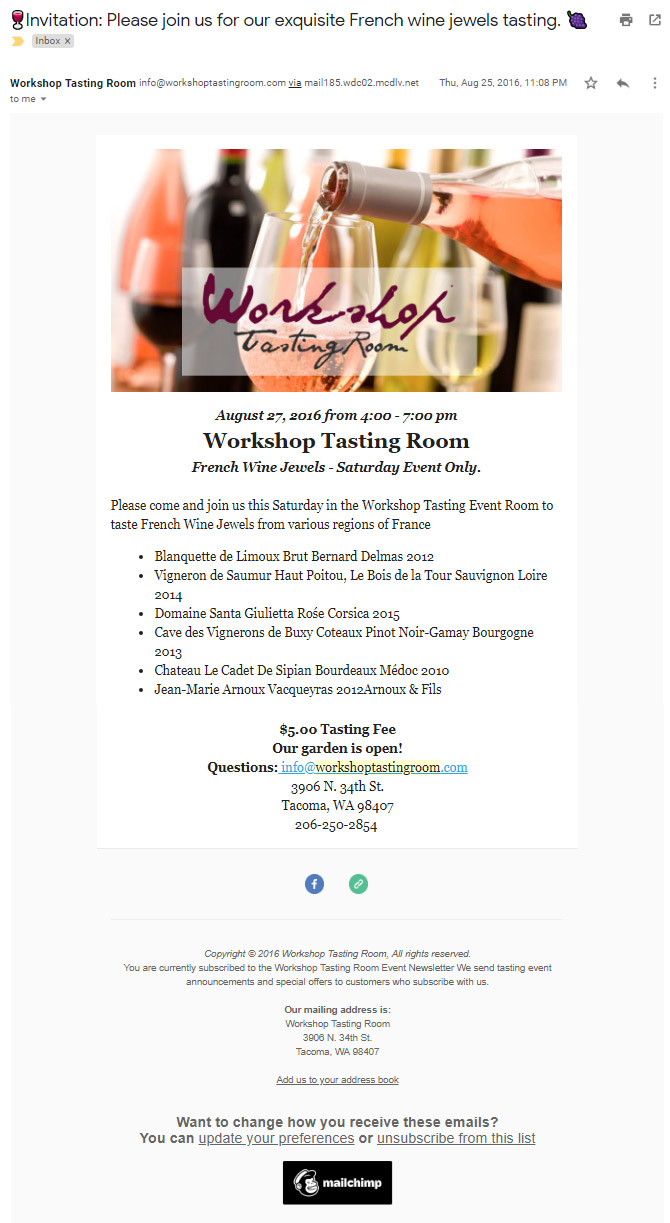 Workshop Tasting Room - screenshot of email invitation to event with MailChimp.