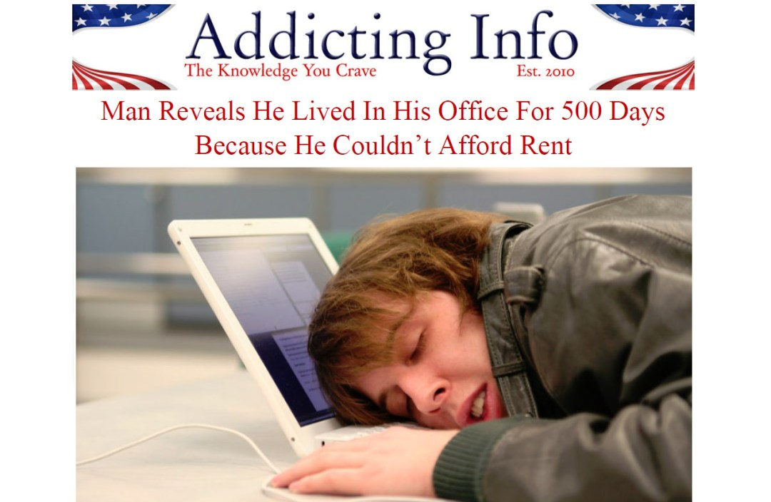 Photo of man falling asleep on his laptop while living in his office. Think living in your office is hard to pull off? Try paying rent on an overpriced, crappy studio apartment in Los Angeles.