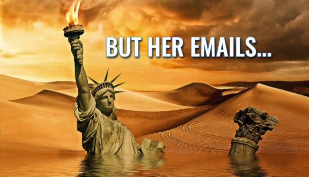 But her emails! (Photo of the Statue of LIberty in a blazing lifeless world and waist-deep in water.