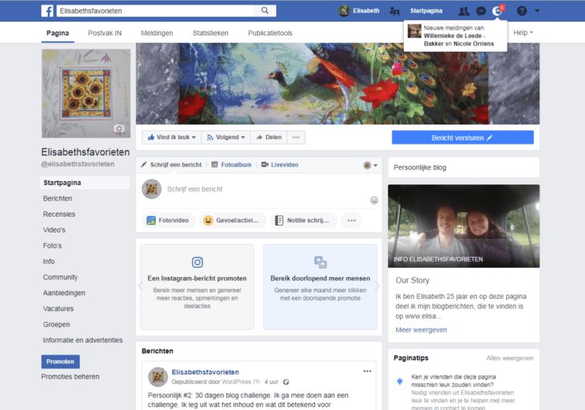 Facebookpagina aanzicht elisabethsfavorieten
