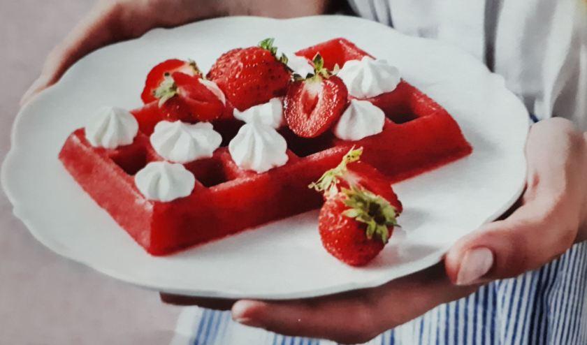 resultaat aardbeien-bananen wafels
