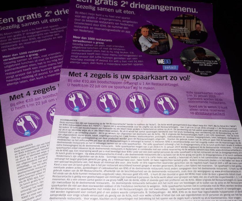 Spaartkaarten restaurant actie Albert Hein