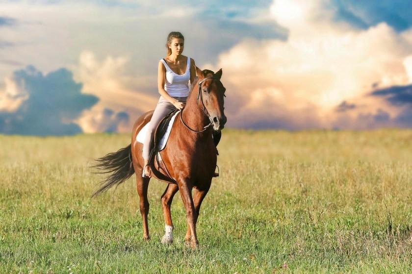 vrouw aan het paardrijden
