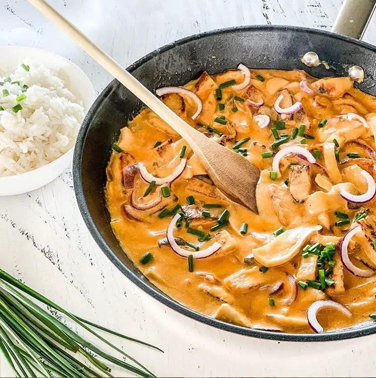 Vegetarisches Rahmgeschnetzeltes mit Reis
