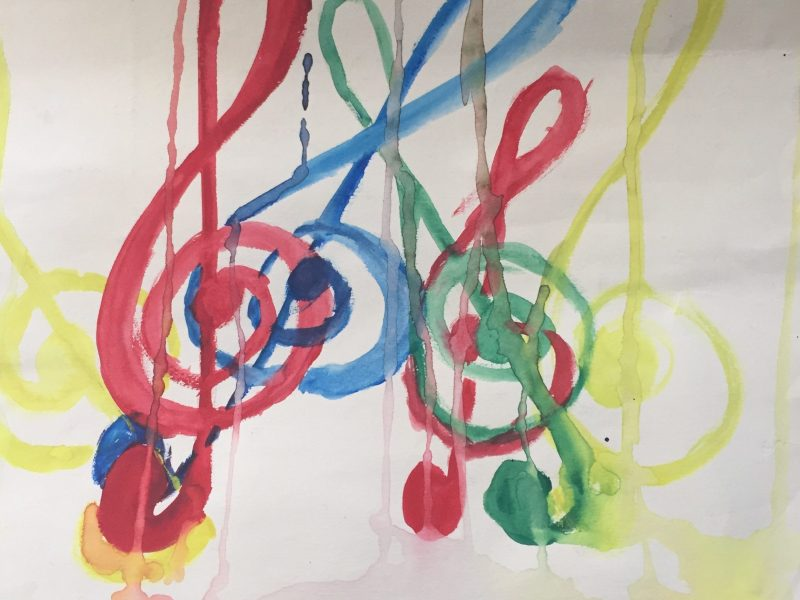 Watercolor Treble Clefs, circa 1992