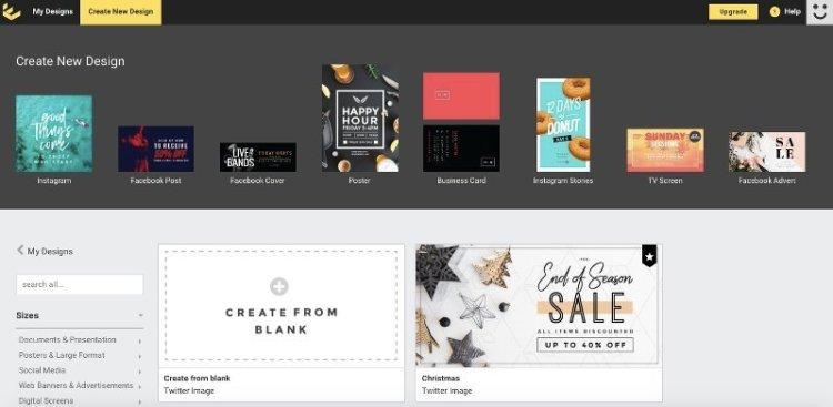 creare grafiche online gratis per i social con Easil