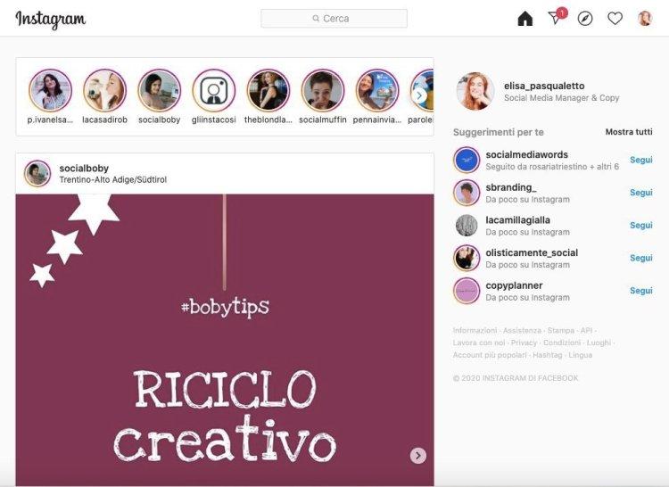 Come usa Instagram da pc