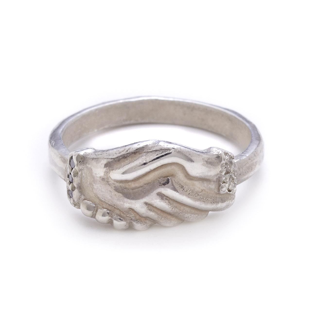 Diamond Clasped Hands Ring Elisa Solomon Jewelry