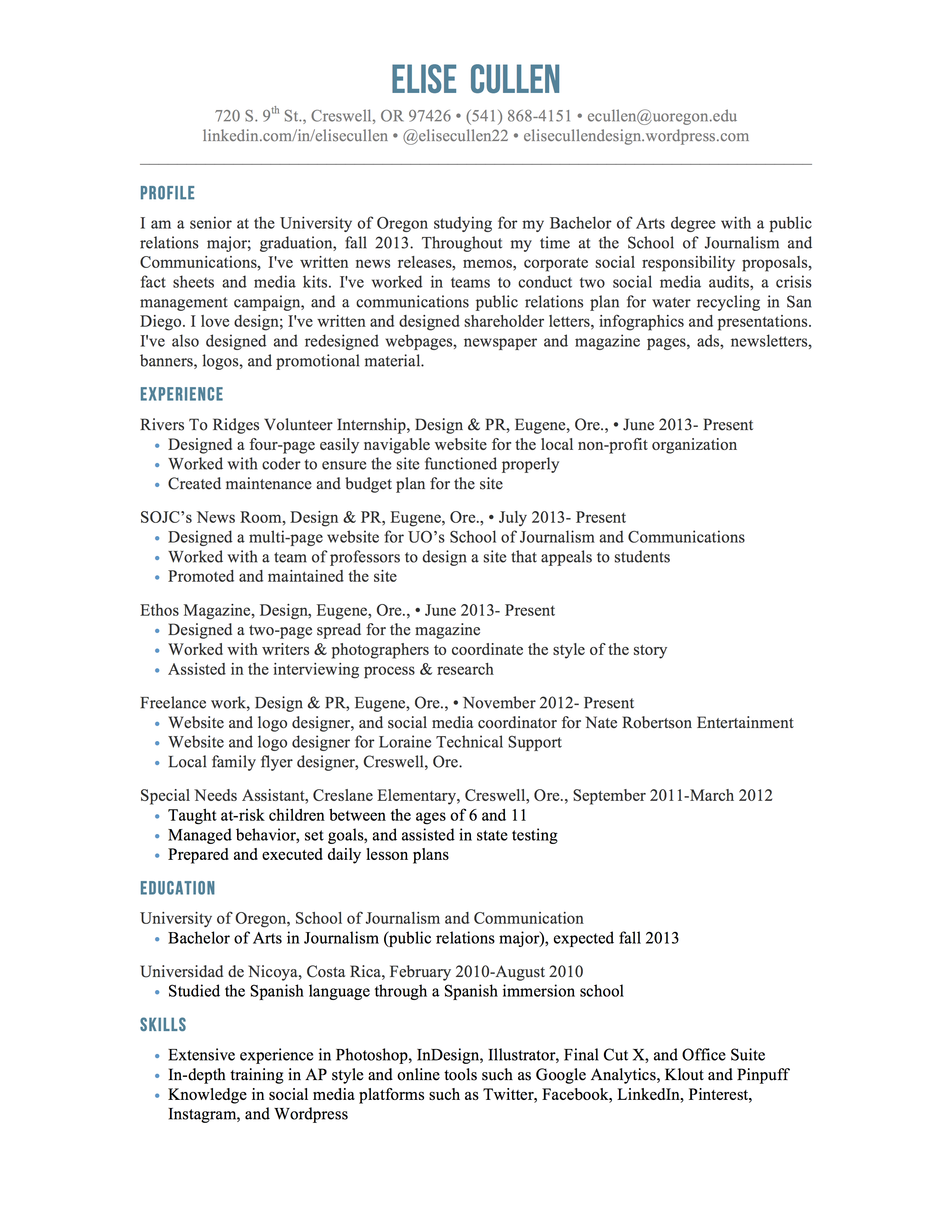 Catherine Abernathy Digital Resume And Portfolio Cover Letter Apa Style  Cover Letters Template Apa Format Page