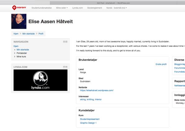 Screenshot moodle profile