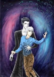 Fanart på Jack Frost och Pitch Black (Rise of the Guardians, Dreamworks) Färglagd med Copics. 2015