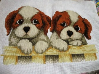 My first cross stitch - Two Puppies