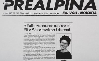 A Pallanza concerto nel carcere Elise Witt cantera per i deteuti