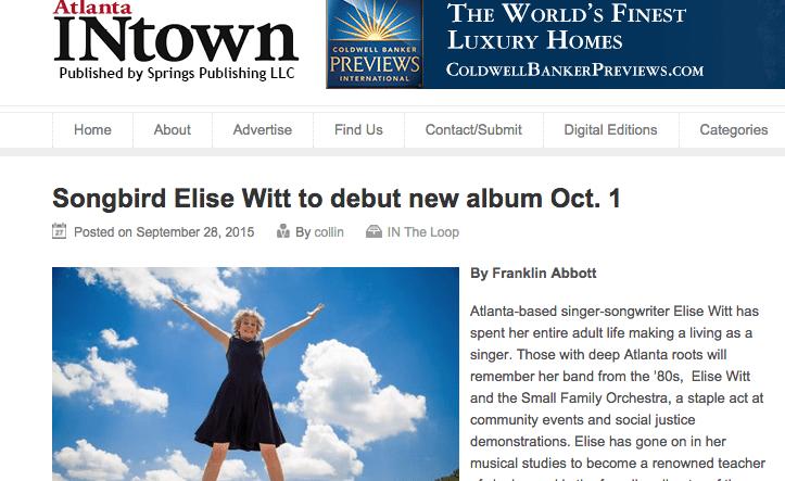 Atlanta INtown – Songbird Elise Witt to debut new album Oct. 1