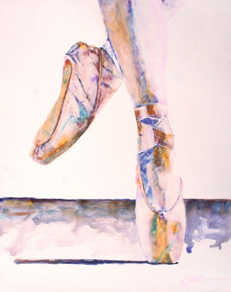 "En Pointe, 16"" x 20"", watercolor on claybord, ©ElishaDasenbrock2016"