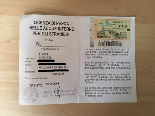 Briefmarke für italienischen Angelschein