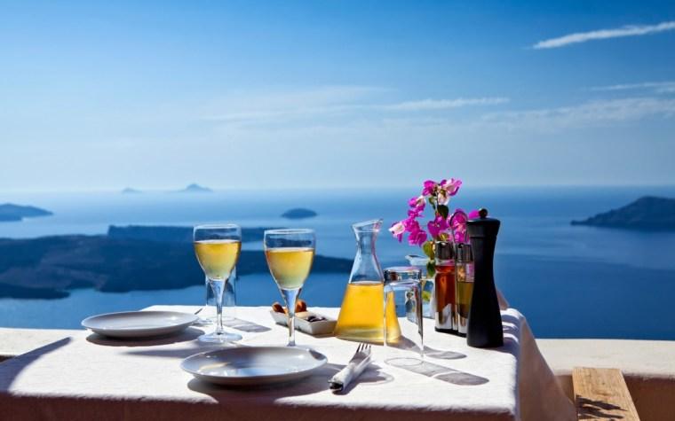 santorini mediterranean view with wines