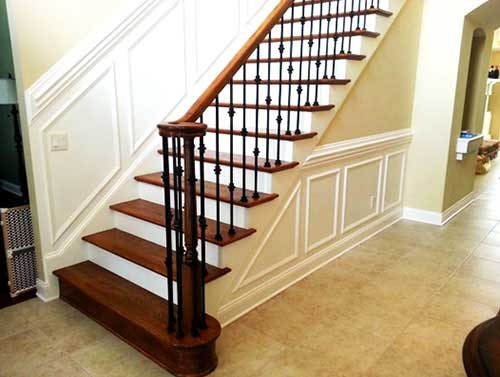 Stairs Rails Elite Construction | Wrought Iron And Wood Stair Railing | Decorative | Iron Rail | Stairway | Wood Cap | Hand