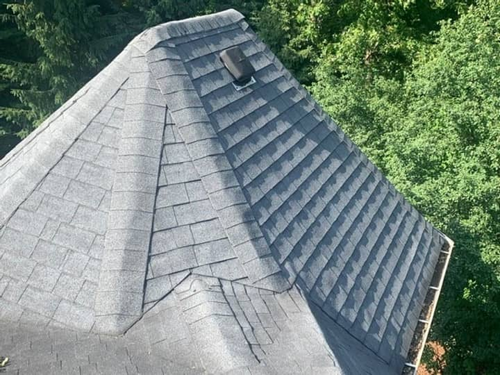 Roof ridge shingles with multiple hips