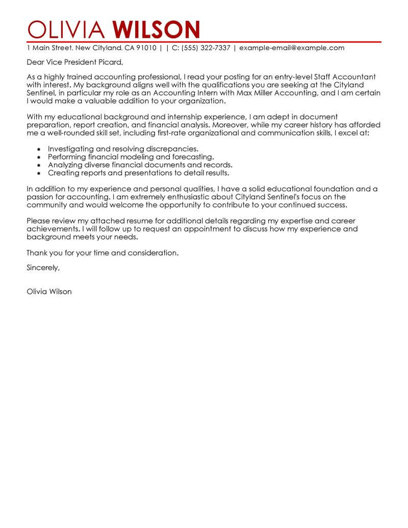 Free Staff Accountant Cover Letter Examples  Templates