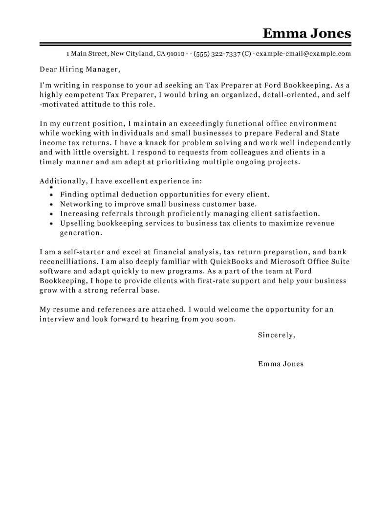 tax intern cover letter