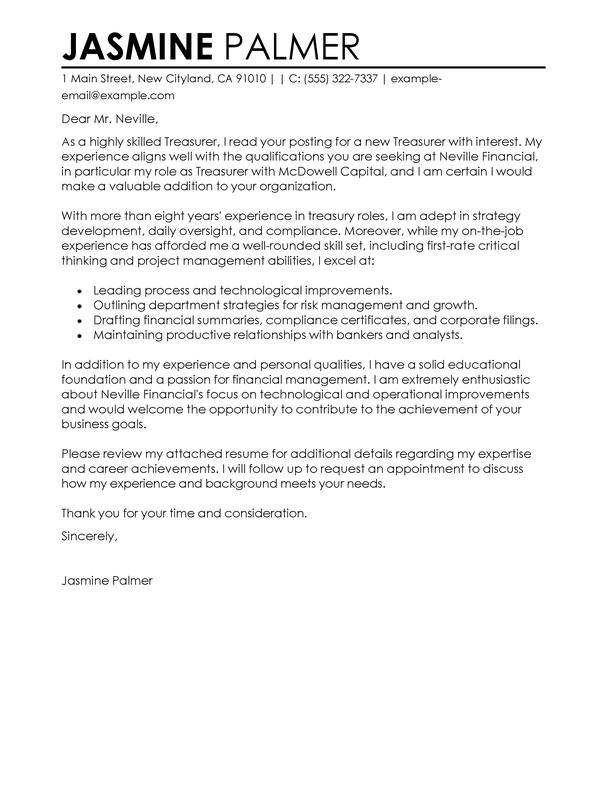 Outstanding Treasurer Cover Letter Examples  Templates