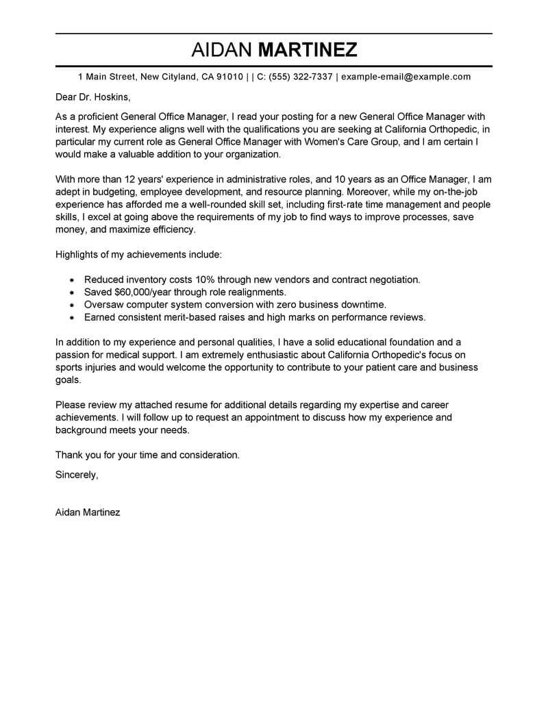 Free Admin General Manager Cover Letter Examples  Templates from Our Writing Service
