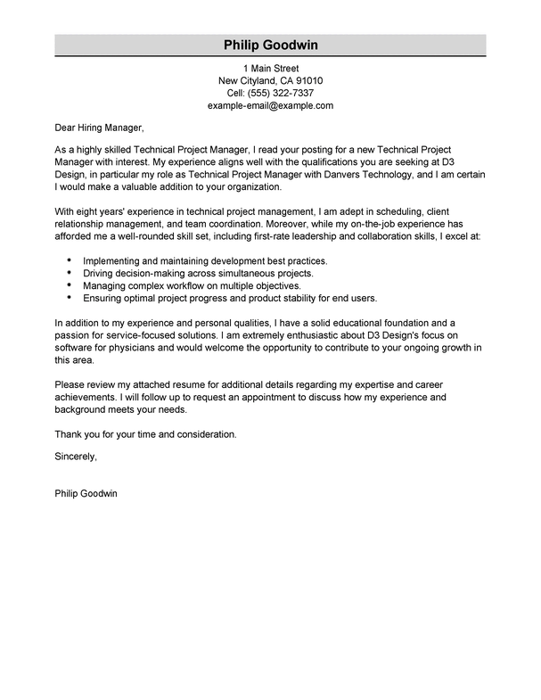 Amazing Technical Project Manager Cover Letter Examples