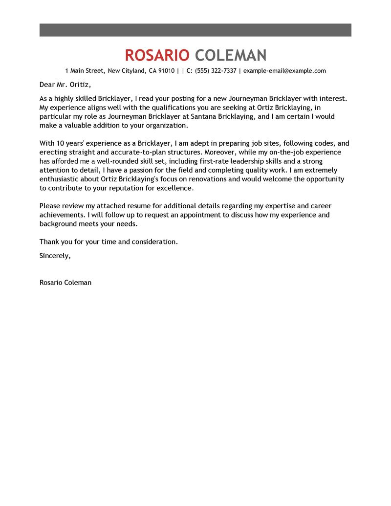 Outstanding Journeymen Masons Bricklayers Cover Letter