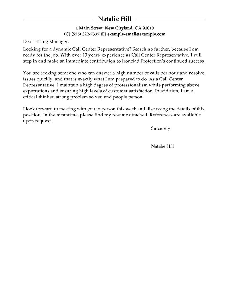 Outstanding Call Center Representative Cover Letter Examples  Templates from Our Writing Service