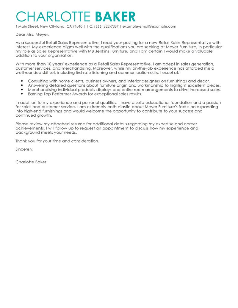 cover letter for furniture sales position