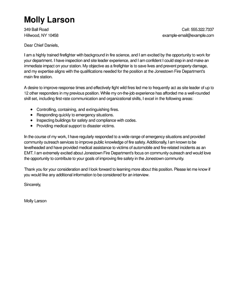 Outstanding Firefighter Cover Letter Examples  Templates from Our Writing Service