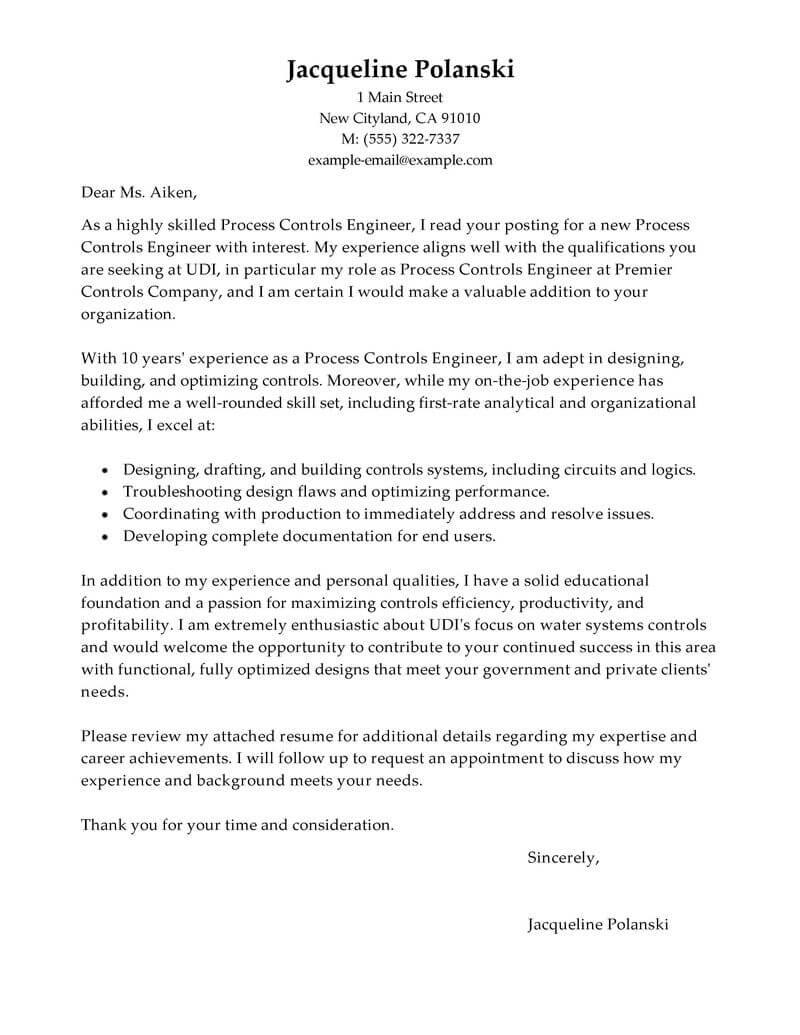 Outstanding Process Controls Engineer Cover Letter