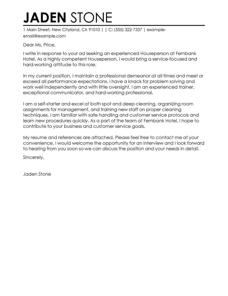 Outstanding Houseperson Cover Letter Examples  Templates from Our Writing Service