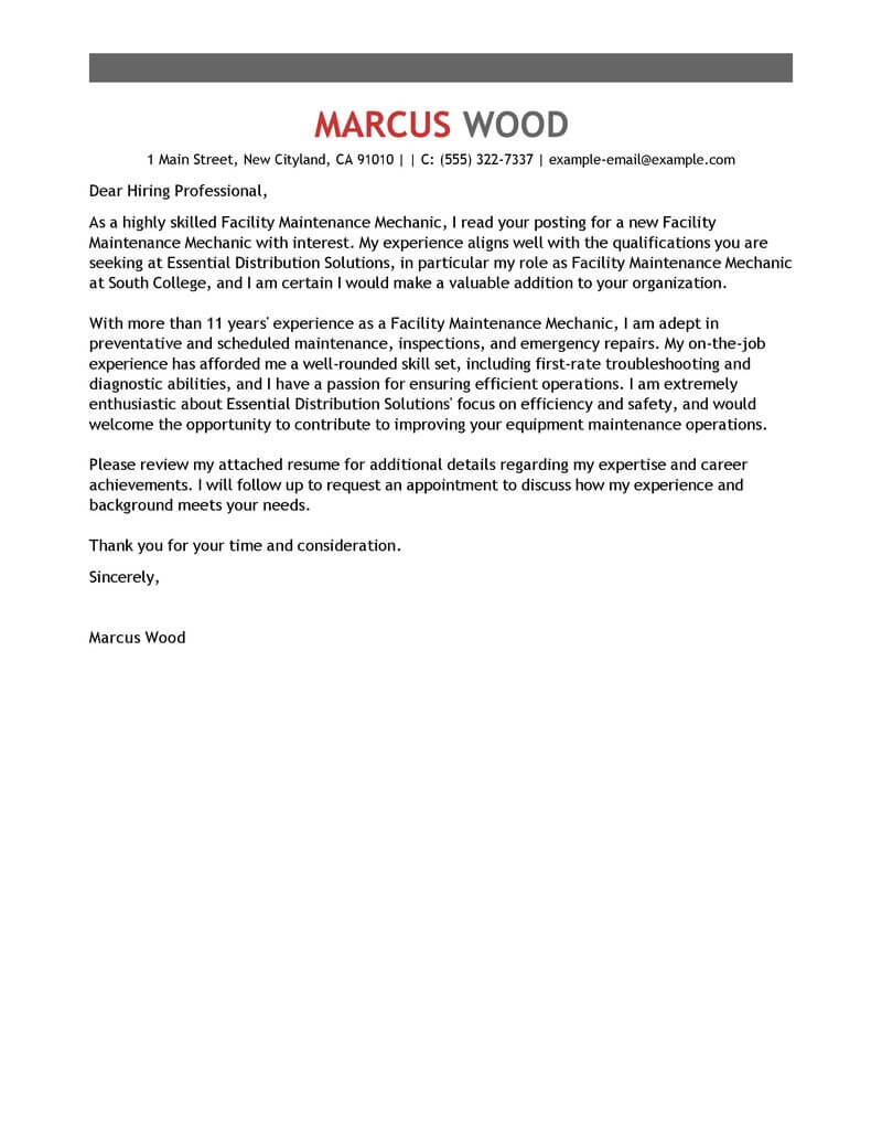 Maintenance Cover Letter Free Maintenance Janitorial Cover Letter Examples Templates
