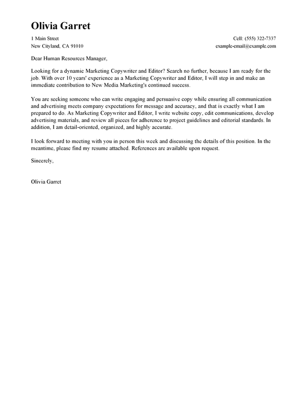 Free Copywriter and Editor Cover Letter Examples  Templates from Trust Writing Service