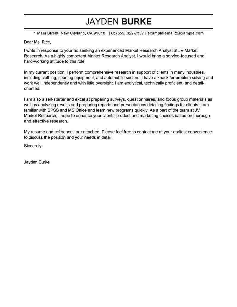Outstanding Market Researcher Cover Letter Examples