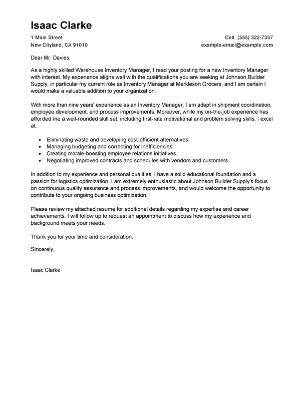 Amazing Inventory Manager Cover Letter Examples
