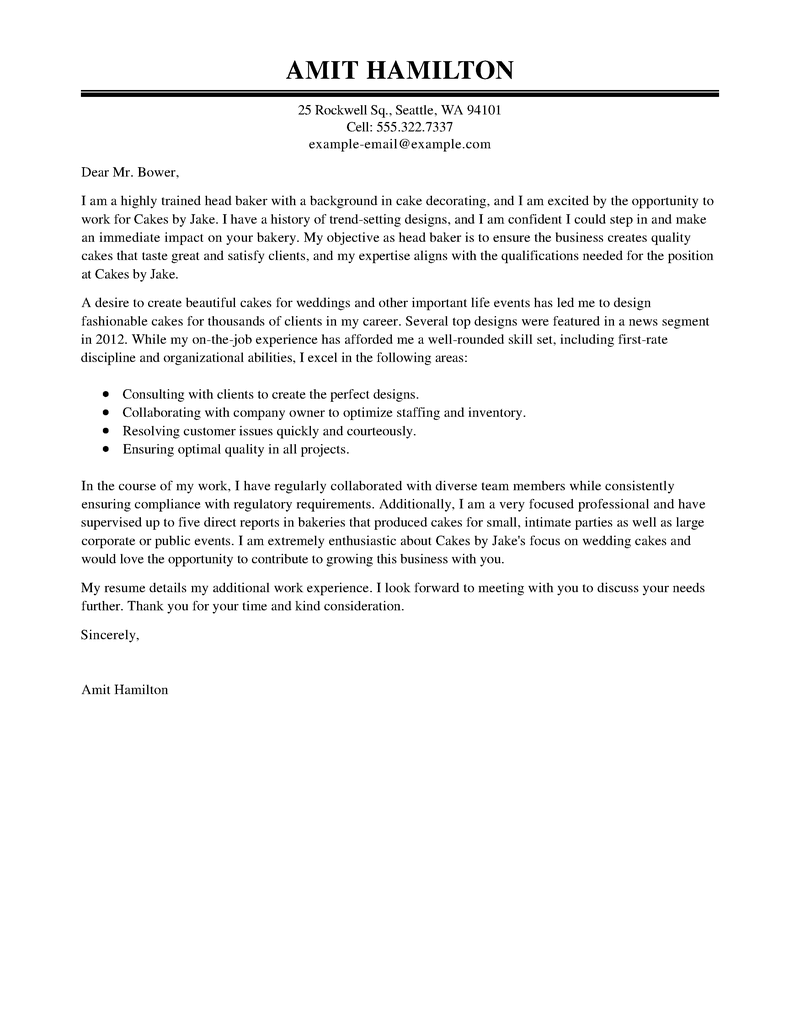 Outstanding Baker Cover Letter Examples  Templates from