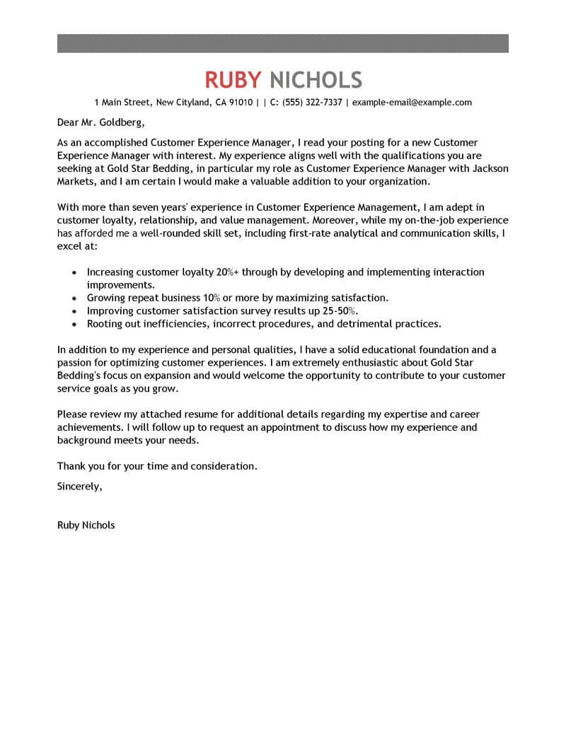 Free Customer Experience Manager Cover Letter Examples  Templates from Our Writing Service