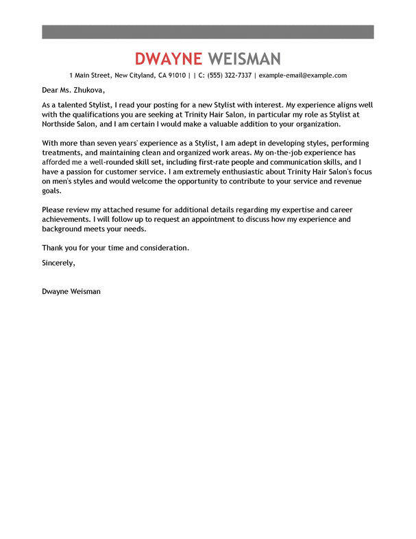 Free Salon Spa  Fitness Cover Letter Examples  Templates from Trust Writing Service