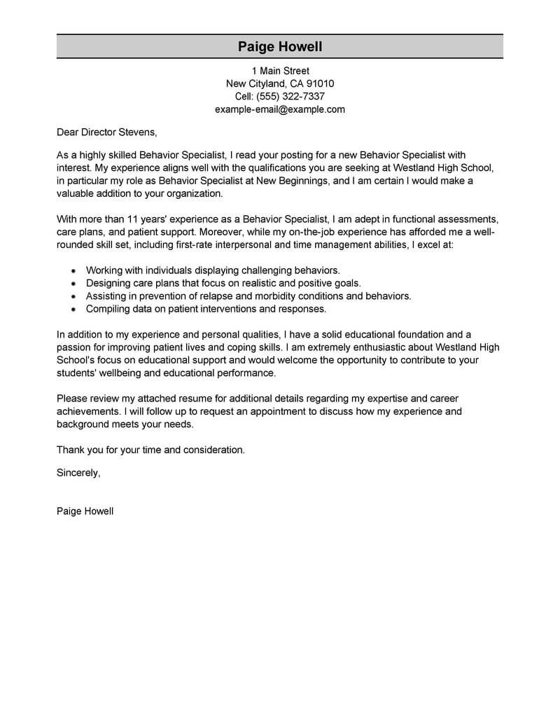 Amazing Behavior Specialist Cover Letter Examples  Templates from Our Writing Service