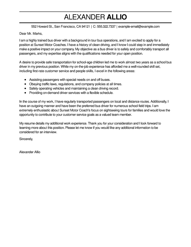 Amazing Bus Driver Cover Letter Examples  Templates from Our Writing Service