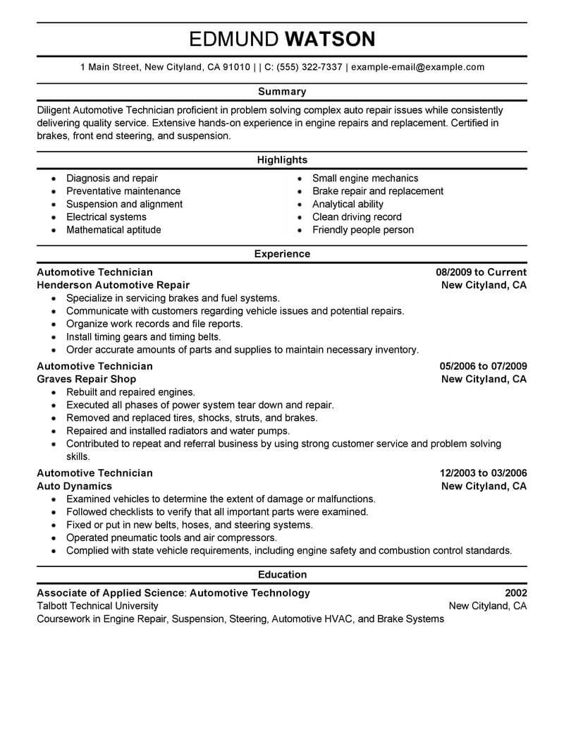 best automotive technician resume example livecareerlivecareer